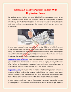 Establish A Positive Payment History With Registration Loans