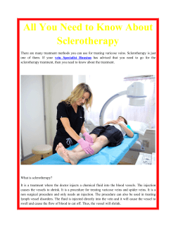 All You Need to Know About Sclerotherapy